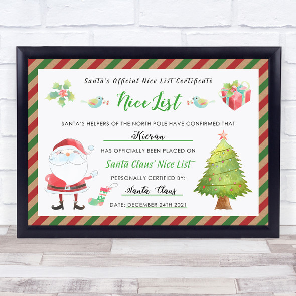 Santa's Nice List Watercolour Red Green Christmas Personalised Certificate