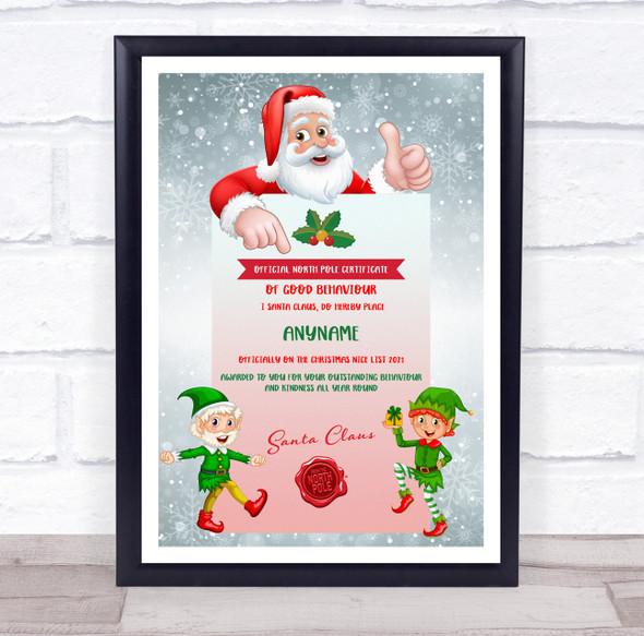 Christmas Good Behaviour 2 Boy Elves North Pole Personalised Certificate