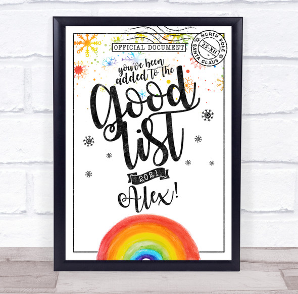 Christmas Good List Rainbow Official From Santa Personalised Certificate