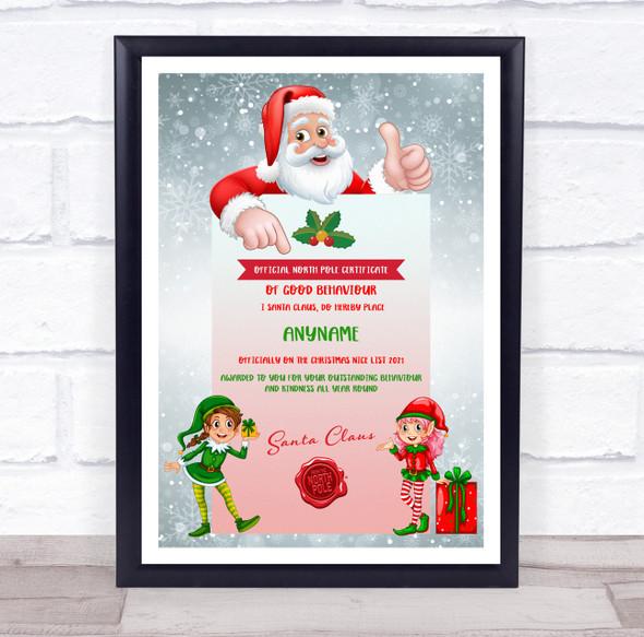 Christmas Good Behaviour 2 Girl Elves Official Personalised Certificate