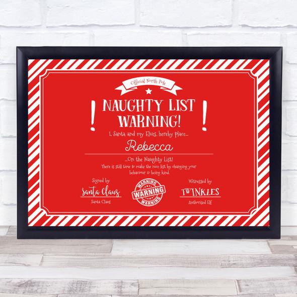 Christmas Naughty List Warning Red Personalised Certificate Award Print