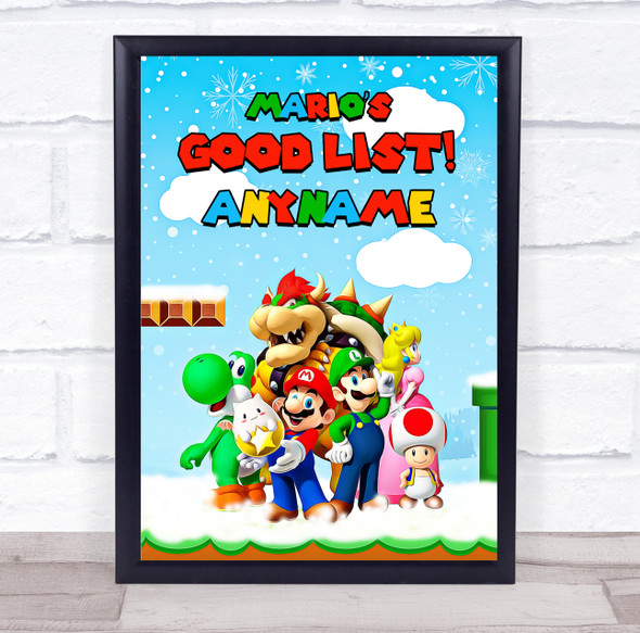 Super Mario's Christmas Good List Personalised Certificate Award Print