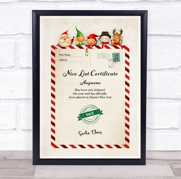 Christmas Nice List Letter Style Personalised Certificate Award Print