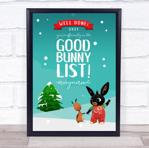 Bing Bunny's Christmas Good List Personalised Certificate Award Print
