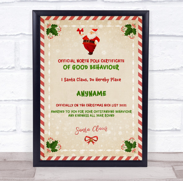 Official Good Behaviour Red Green Christmas Personalised Certificate