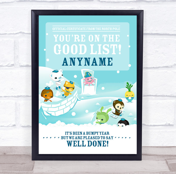Octonauts Christmas Good List Personalised Certificate Award Print