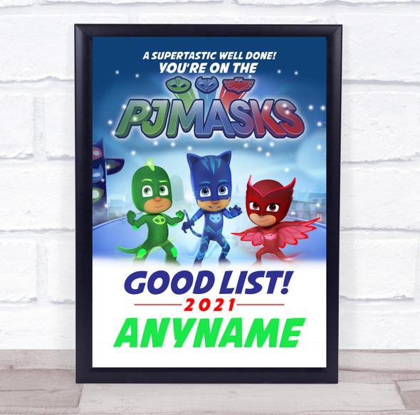 PJ Masks Christmas Good List Personalised Certificate Award Print