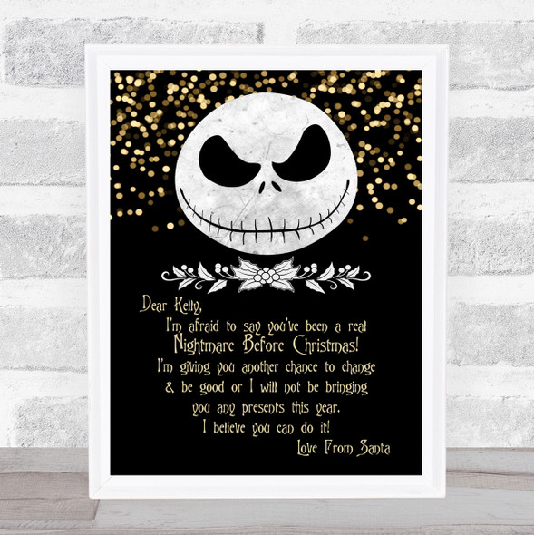 A Real Nightmare Before Christmas Personal Black With Glitter Letter Certificate