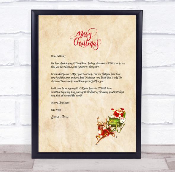 Simple Santa Claus Parchment Christmas Christmas Letter Certificate Award Print