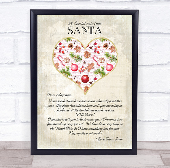 Special Note From Santa Vintage Heart Christmas Letter Certificate Award Print
