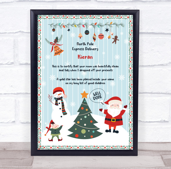 North Pole Express Delivery Tidy Room Light Blue Christmas Letter Certificate