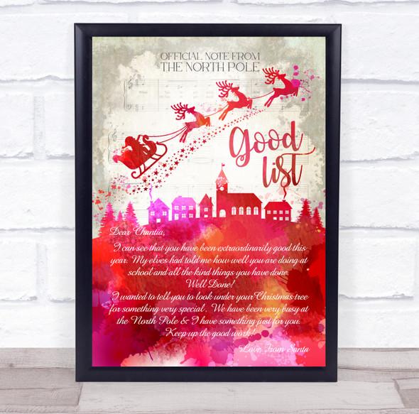 Santa Christmas Riding Reindeer Good List Red Watercolour Letter Certificate