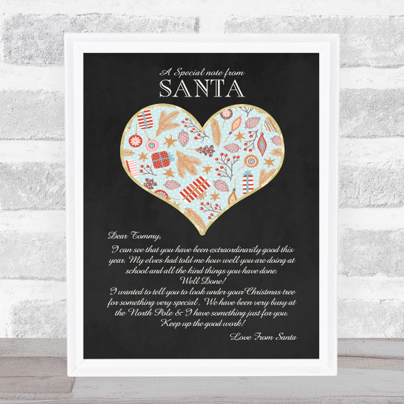 A Special Note From Santa Chalkboard Love Heart Christmas Letter Certificate