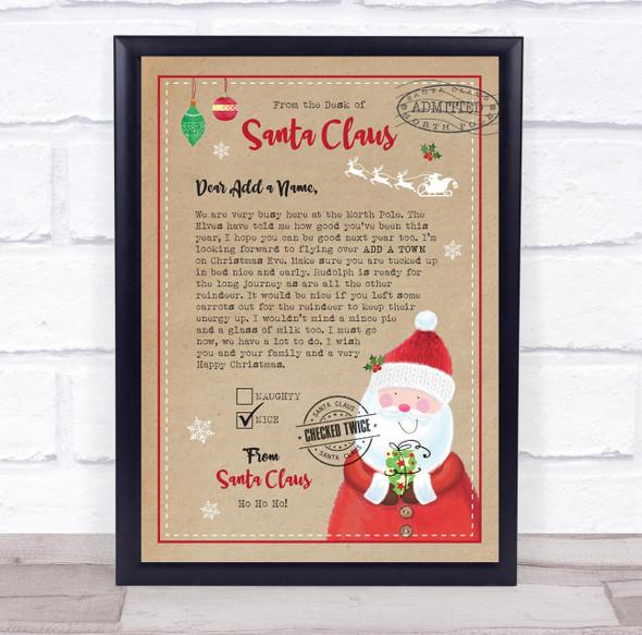 Christmas Nice List from Santa Kraft Brown Letter Certificate Award Print