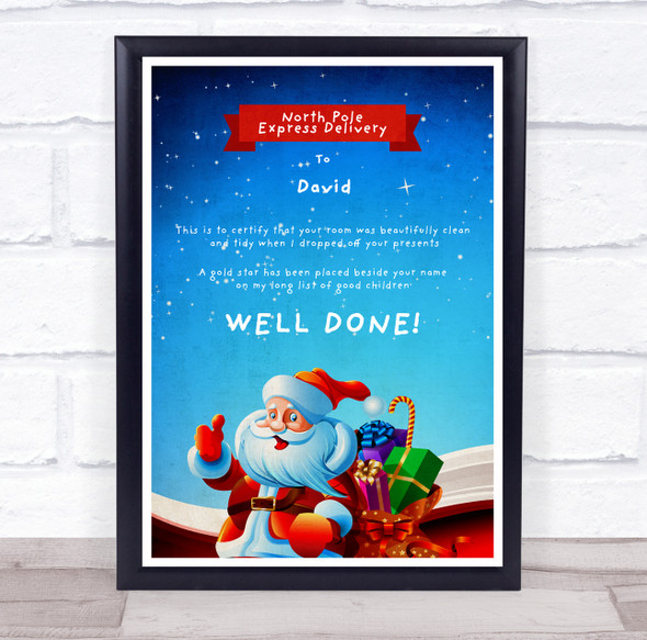 North Pole Express Delivery Tidy Room Blue Christmas Letter Certificate