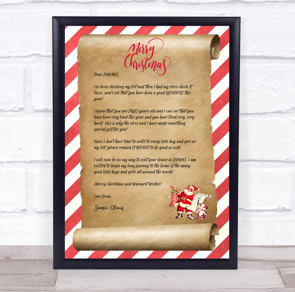 A Special Christmas Santa Claus Wall Art Letter Certificate Award Print