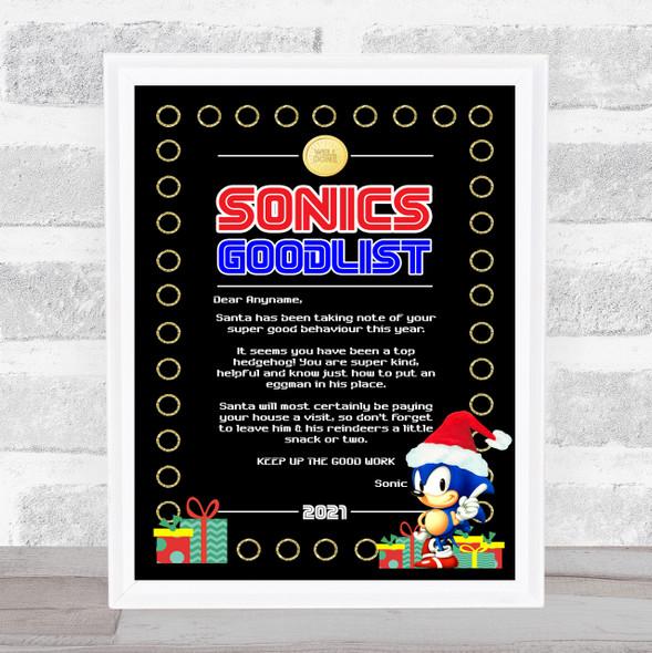 Retro Sonic The Hedgehog Xmas Christmas Letter Certificate Award Print