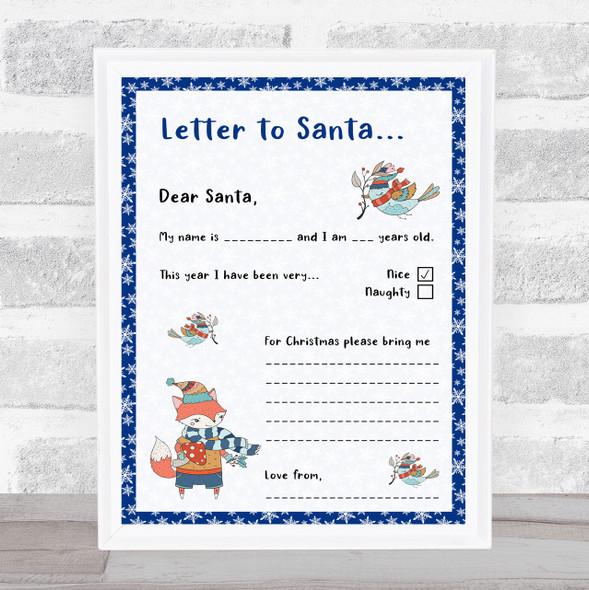 Santa Fill In The Blanks Blue Christmas Letter Certificate Award Print