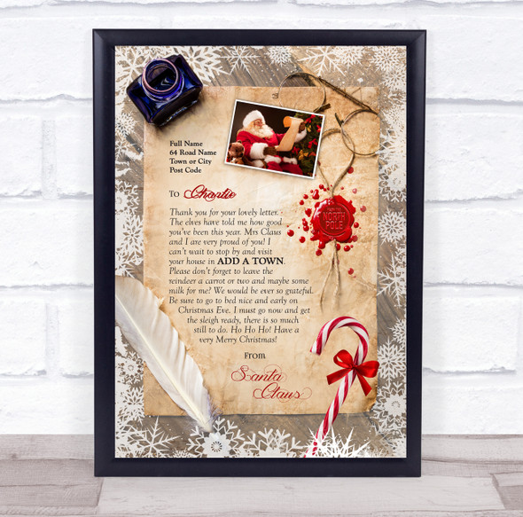 Christmas Candy Cane from Santa Scroll Letter Certificate Award Print