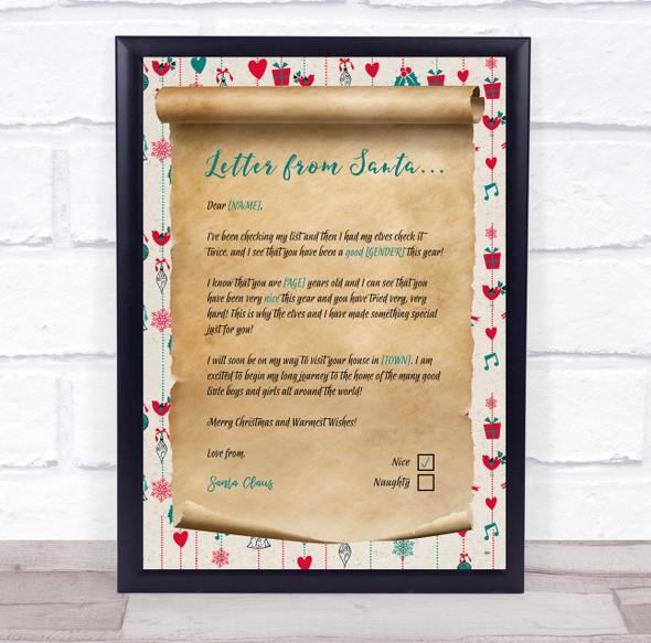 Christmas Scroll Santa Claus Christmas Letter Certificate Award Print