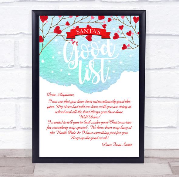 Snow Heart Branch Good List Christmas Letter Certificate Award Print