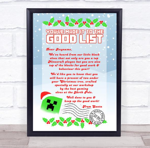 Minecraft Christmas Creeper Santa Letter Certificate Award Print