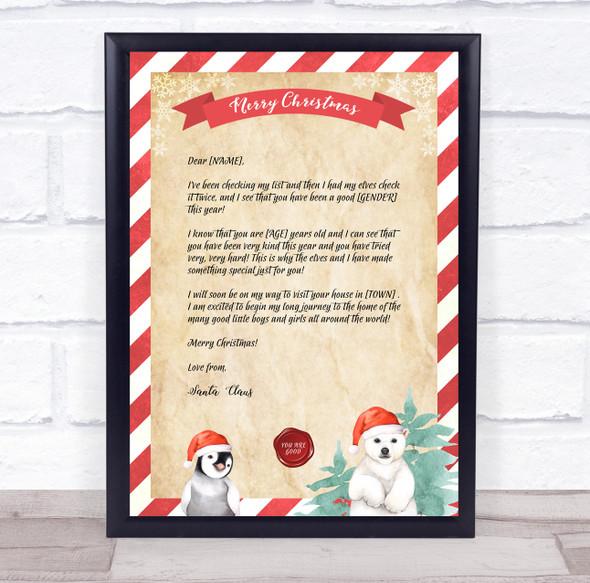 Good List Santa Claus Christmas Letter Certificate Award Print