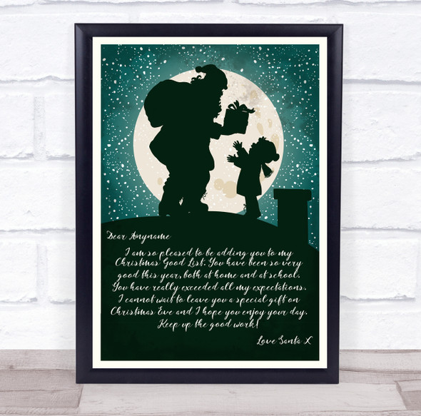 Santa's Special Note Christmas Letter Certificate Award Print