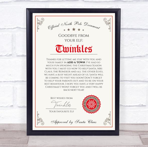 Christmas Goodbye Elf on Shelf Letter Certificate Award Print