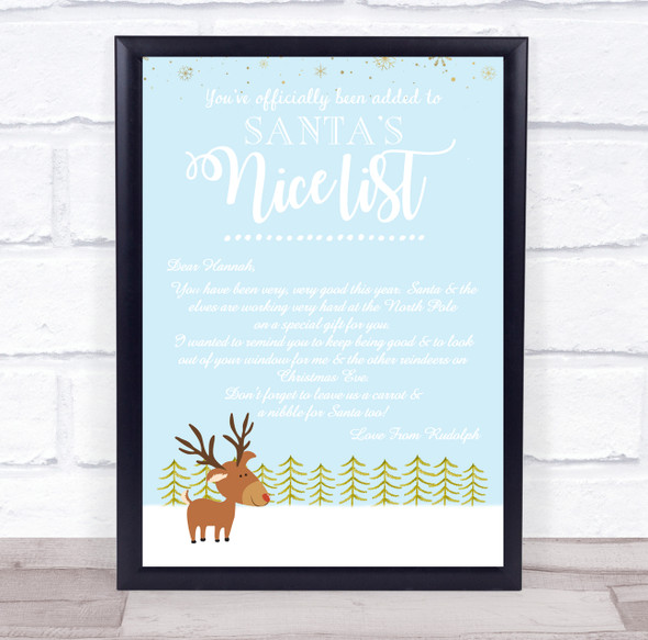 A Rudolph Baby Blue Christmas Letter Certificate Award Print