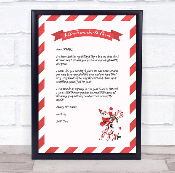 Santa Red And White Christmas Letter Certificate Award Print