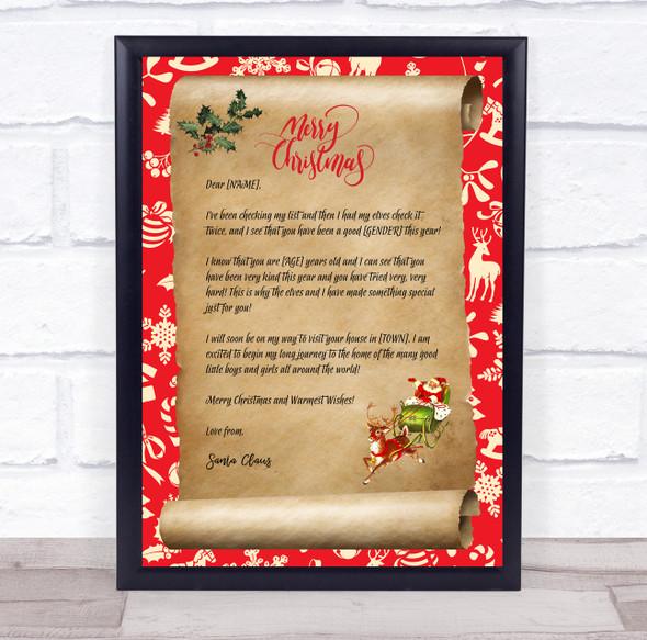 Santa Claus Christmas Scroll Letter Certificate Award Print
