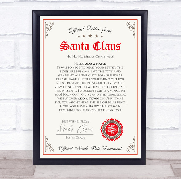Christmas Santa With Stamp Letter Certificate Award Print