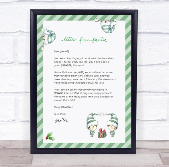 Elf Christmas Santa Claus Letter Certificate Award Print
