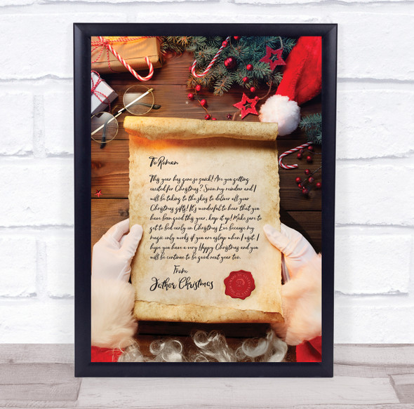 Father Christmas Photo Letter Certificate Award Print