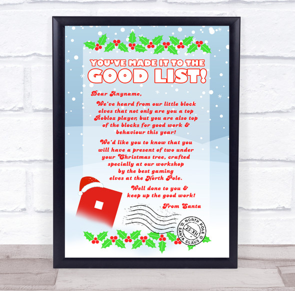 Roblox Christmas Santa Letter Certificate Award Print
