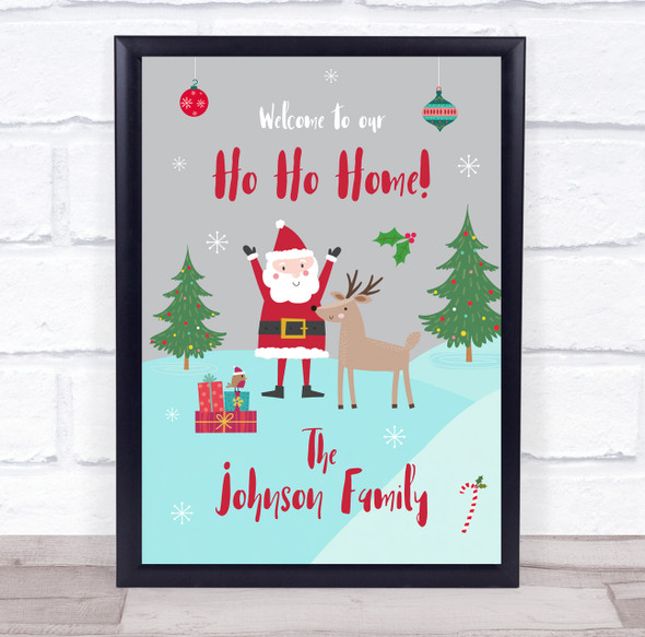 Personalised Family Name Welcome To Our Home Santa Christmas Event Sign Print