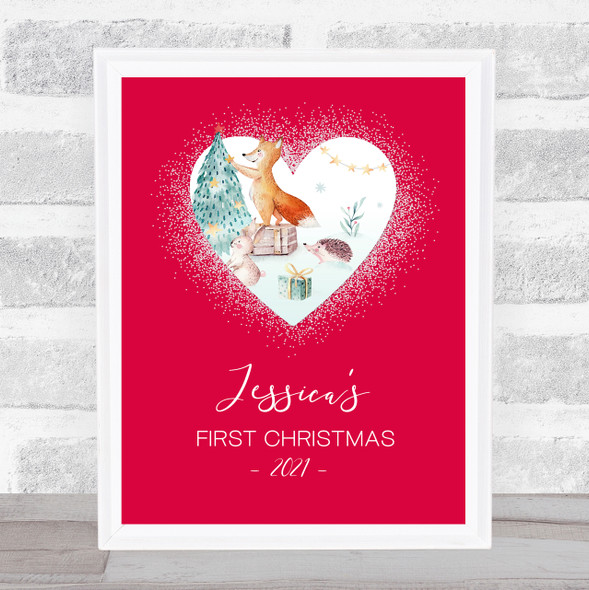 Personalised First Christmas Heart Glitter Red Animals Tree Event Sign Print