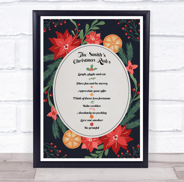 Personalised Family Name Oranges Dark Blue Christmas Rules Event Sign Print