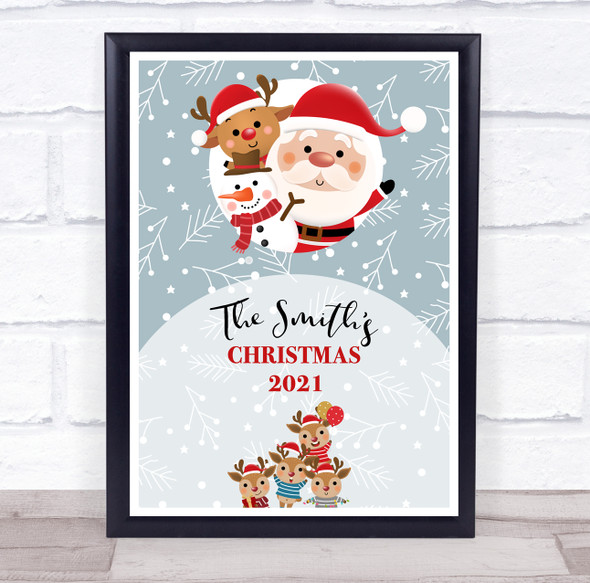 Personalised Family Name Snow Cartoon Characters Christmas Event Sign Print