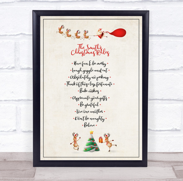Personalised Family Name Skating Reindeer Christmas Rules Event Sign Print