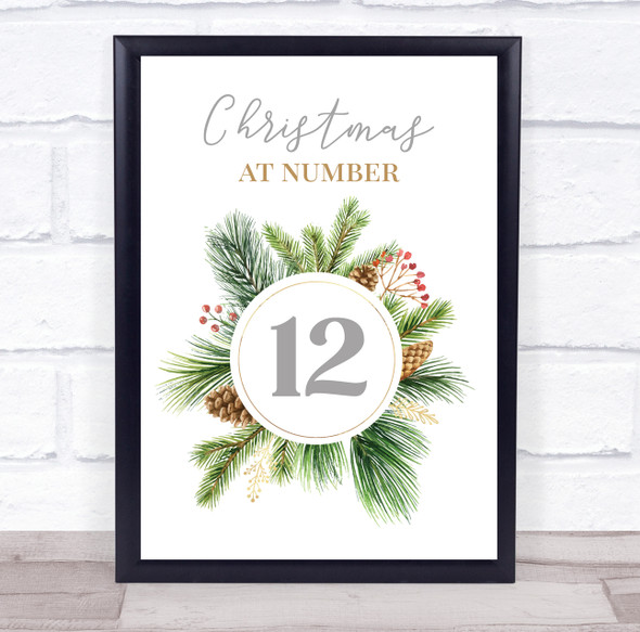 Personalised Christmas at House Number Wreath Event Sign Wall Art Print