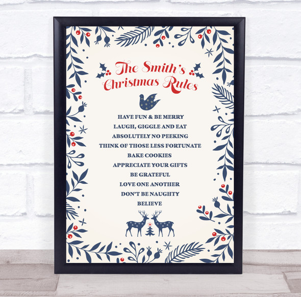 Personalised Family Name Blue Nature  Christmas Rules Event Sign Print
