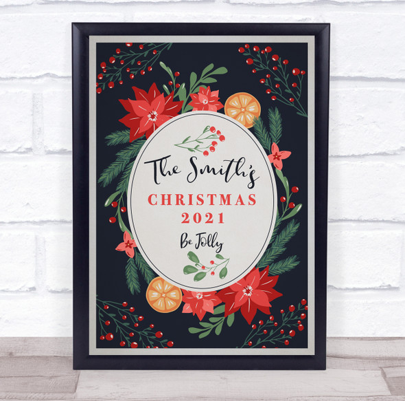 Personalised Family Name Dark Blue Be Jolly Christmas Event Sign Print