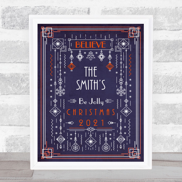 Personalised Family Name Purple Deco Style Christmas Event Sign Print