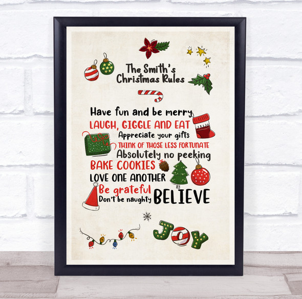 Personalised Doodle Style Family Rules At Christmas Event Sign Print