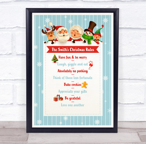 Personalised Family Name Christmas Rules Light Blue Event Sign Print