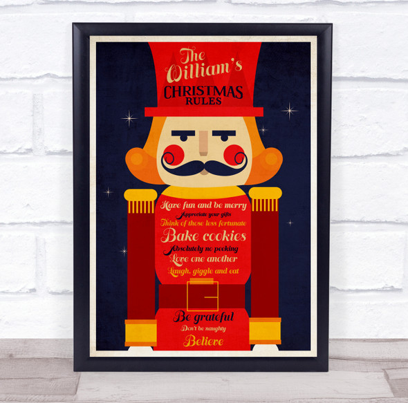 Personalised Nutcracker Family Name Christmas Rules Event Sign Print