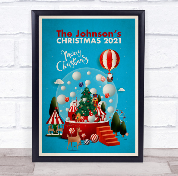 Personalised Family Name Christmas Blue Snow Globe Event Sign Print
