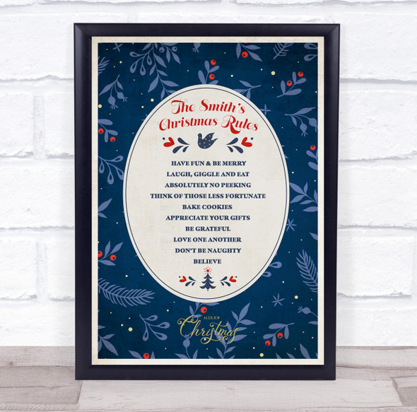 Personalised Family Name Dark Blue Christmas Rules Event Sign Print